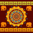 Ethnic ornament with elephants — Stock Vector