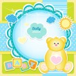Baby arrival card with Teddy bear — Stock Vector