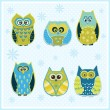 Set of six cartoon owls — Stock Vector