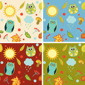 Cute colorful floral seamless pattern with owl — Stock Vector