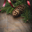Rustic Christmas background with fir branches — Stock fotografie