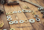 Frame of Metal washers — Stock Photo
