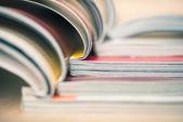 Stacked magazines macro — Stock Photo