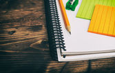 Pencil, notebook and sticky notes — Stock Photo