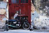 General view of a mural 'Boy on a Bike — Stock Photo