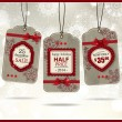Set of three vintage paper christmas labels — Imagens vectoriais em stock