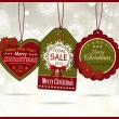 Set of three vintage paper christmas labels — Stock Vector