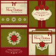 Set of four vintage Xmas greeting cards — Stock Vector #36373737