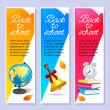 Isolated three back to school horizontal banners — Vector de stock