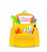 Yellow school bag with school supplies — Stock Vector