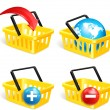 Stock Vector: Set of four isolated modern photorealistic yellow shopping basket icons on white background. Vector illustration