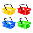 Set of four isolated modern photorealistic yellow, red, blue and green shopping basket icons on white background — Stock Vector #37162321