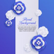 Romantic floral background with 3d blue paper flowers and place for text — Stock Vector