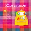 Back to school photo realistic textile background with school bag and place for tex — Stock Vector