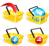 Set of four isolated modern photorealistic yellow shopping basket icons on white background. Vector illustration — Stock Vector