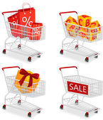 Set of four isolated modern photorealistic shopping carts icons on white background — Stock Vector
