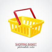 Isolated modern photorealistic yellow empty shopping basket on white background — Stock Vector
