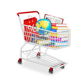 Isolated modern photorealistic shopping cart with school objects on white background — Stock Vector