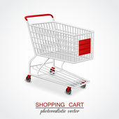 Isolated modern photorealistic empty shopping cart on white background — Stock Vector