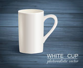 Isolated photorealistic empty white cup on wooden background — Stock Vector