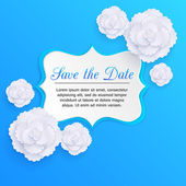 Romantic floral background with 3d white paper flowers and place for text — Stock Vector