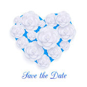 Romantic floral background with 3d white paper flowers over blue heart and place for text. — Vector de stock