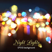 Abstract bright photorealistic blurred bokeh night lights — Stock Vector