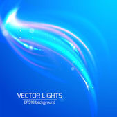 Abstract bright blue cosmic background with blurred light rays — Stock Vector