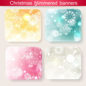Set of four christmas glimmered banners — Stock Vector