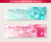 Set of two horizontal christmas glimmered banners — Stock Vector