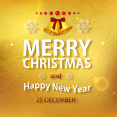 Christmas typographic flyer with golden christmas bells on glimmered golden background — Stock Vector