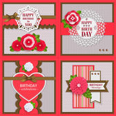 Set of four Birthday backgrounds with paper flowers and scrapbook elements — Stock Vector