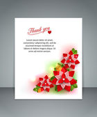 Thank you floral holiday background with paper flowers, blurred bokeh lights and a place for text — Stock Vector