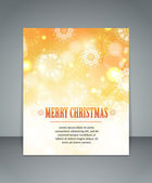 Elegant golden glimmered Christmas background with snowflakes and blurred bokeh lights — Stock Vector