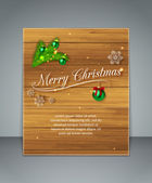 Creative glimmered typographic christmas flyer with fir tree branches, green balls and snowflakes on wooden background — Stock Vector