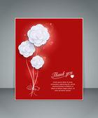 Dank u floral vakantie rode achtergrond met witboek bloemen, wazig bokeh verlichting en een plek voor tekst — Stockvector