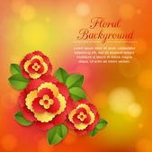 Romantic floral background with paper flowers with leaves and place for text — Vecteur