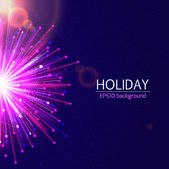 Holiday bright salute background with blurred photorealistic light rays — Stock Vector