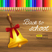 Back to school photo realistic wooden background with pencils and school bell — Stock Vector
