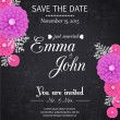Vintage Save the date wedding invitation with paper flowers, scrapbook elements and place for text — Stock Vector #37219185