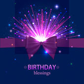 Birhtday blessings holiday background with a bow, night sky, firework and a place for text — Stock Vector