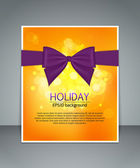 Bright holiday background with a bow, blurred bokeh lights and a place for text — Stock Vector