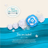 Floral wedding background with paper flowers, scrapbook elements and place for text — Vettoriale Stock