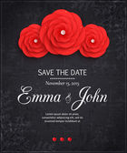 Vintage Save the date wedding invitation with paper flowers, scrapbook elements and place for text — Stock Vector