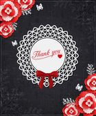 Vintage Thank you card with paper flowers, scrapbook elements and place for text — Stock Vector