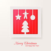 Christmas paper applique greeting card. Vector illustration for your holiday design — Stock Vector