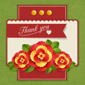 Thank you isolated flyer with paper flowers and scrapbook elements — Stock Vector