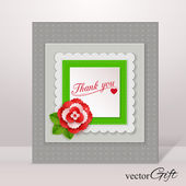 Thank you isolated flyer with paper flower and scrapbook elements — Stock Vector