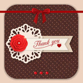 Thank you background with red paper flower and scrapbook elements — Stock Vector
