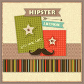 Hipster background with paper hipster icons and scrapbook elements — Stock Vector
